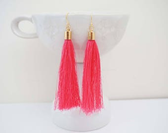 Hot Pink and Gold Long Tassel Earrings