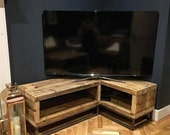 Industrial Chic Reclaimed Corner Tv Unit Standm Media Unit 064 Steel and Wood Metal Hand Made in Sheffield