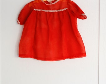 6 months: Red Organdy Baby Dress or Top, Lace Trim, Handmade