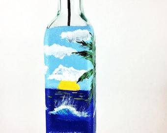 Olive Oil bottle hand painted,  Olive Oil Dispenser, Oil and Vinegar, Ocean Hand painted Bottles, Oil Pour Bottle, Kitchen Soap Pour Bottle