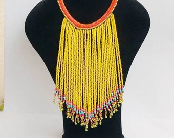 yellow bib necklace , handmade necklaces, tribal jewelry , beaded necklace , indian necklace , Bohemian Necklace , women necklace , bohemian