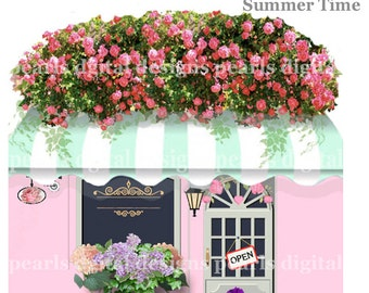 Summer Time Etsy Shop Icon, Store Front,  instant download, blank file, premade, cottage shop, awning, floral roses, pastel pink and green