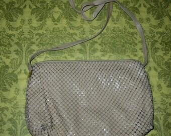Vintage Whiting & Davis Tan Enamel Mesh Shoulder Bag Purse