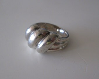 Sterling silver rope twist band ring, size 6