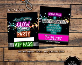 Glow Party Invitation Lanyard VIP Pass (Digital File) (ALL wording can be changed!) (3.75x4.5 inches)