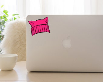 Pussy Hat Decal Pussy Power Sticker Feminist Feminism Pink Cat Hat Nasty Woman Bad Hombre Anti Trump Protest Sticker Pink pussyhat project