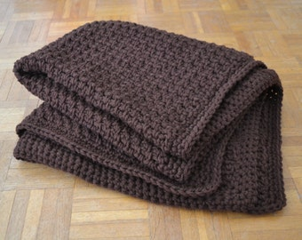 Wool rug, wool blanket, trow rug, thick rug, knitted rug, dark brown, chunky rug, coffee brown blanket, knitted blanket, pure wool blanket