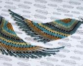 Native American Beaded Earrings, Seed Bead Earrings, Angel Wings, Fringe Earrings, Long Beaded Earrings, Asymmetrical Earrings