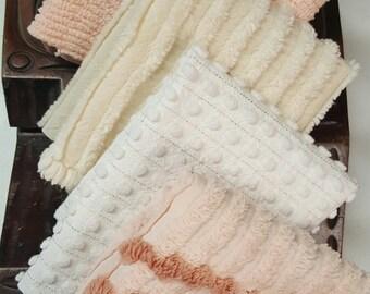 """Vintage Chenille-Peach,White & Cream Chenille Fabric bundle (5) 12"""" x 18"""" Vintage chenille bedspread fabric-Cottage Chic style fabric"""