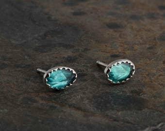 Green Topaz Stud Post Earrings, Topaz Earrings Stud Earrings Sterling Silver Shiny Silver Silver Earrings,Minimalist Jewelry 6x4mm