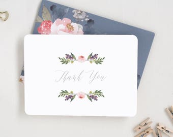 Thank You. Wedding Thank You. Thank You Card Set. Wedding Stationary. Floral Notecards. Blank Notecards. Baby Thank You Notes.