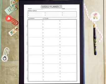 Weekly Planner Printable A4 Binder Inserts Schedule Weekly Black and White PDF A4 Weekly Agenda Calendar To Do Crafts Instant Download