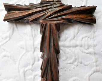 Unique Carved Walnut Wood Cross.  Wall Art.  Rustic and Elegant Wall Cross designed by Ches Gonzales.