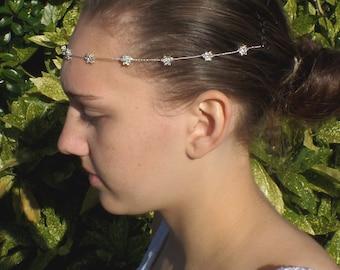 Bridal Browband, Diamante Flower, Forehead band, Bridal Hair wrap, Bridal Headband, Bun Wrap,  Millie