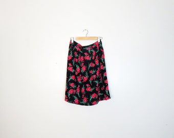 Vintage 90s Floral Rayon Grunge High Waisted A Line Mini Skirt Size M