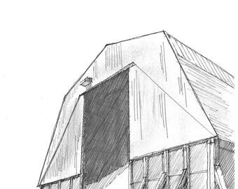 Ink sketch of road salt supply barn
