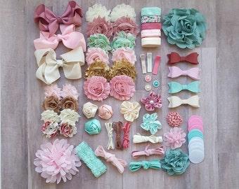 DIY Headband Kit, Baby Shower Activity Kit, 26 Flower Headbands, Headband Supplies, DIY Bow Kit, Felt Bow Headbands, Headband Bar