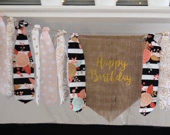 Gold and pink highchair banner.Floral birthday banner.Flower and stripe birthday banner.Happy Birthday pennant banner.