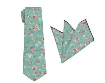 Mens Floral Tie.Floral Wedding Tie.Turquoise Floral Tie.Groomsmen Tie.Skinny Tie.Mens Gift.