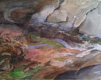 """John Downes Whiting """"Tide Comes In"""" 1948 watercolor on paper"""