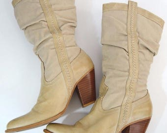 Vintage Women's Beige High Heel Cowboy Boots Slouchy Ruched Fabric Size 8