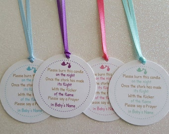 candle favor tags baby shower poem stork tea light favor if needed