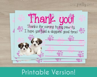 Puppy Party Thank You Card - Printable Instant Download