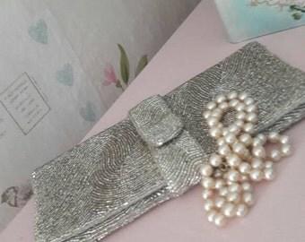 Silver evening bag, gift for her, beaded clutch bag, sparkle, bling purse, vintage handbag, occasion bag, wedding, races, ball, prom.