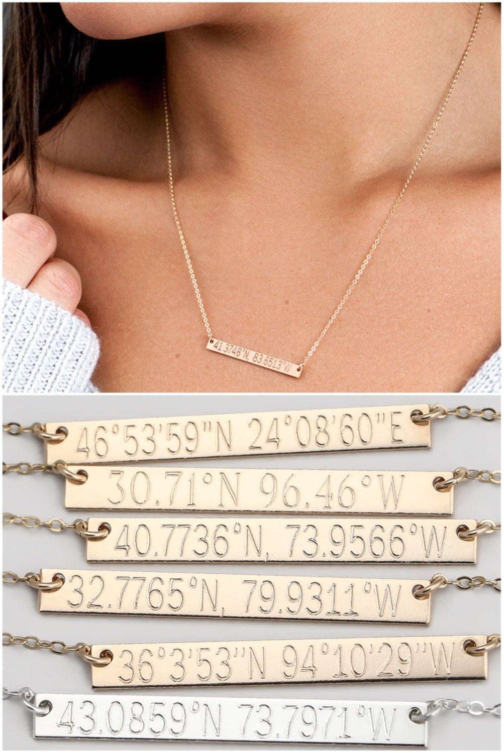 Custom Coordinates Necklace Bridesmaid Gift Personalized Bar