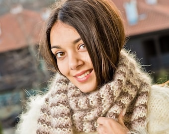 Hand Knitted Mohair Scarf Fuzzy Fluffy Cozy Thick Unisex Made to order no angora Onesize Tiffy a T 235