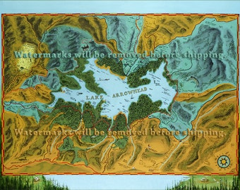 Lake Arrowhead Map Circa 1924 Oil Painting by Anthony P. Geary-Millet Museum Quality Giclée Print on Heavy Fine Art Archival Paper