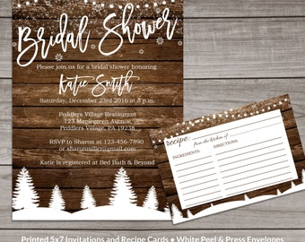 Winter Bridal Shower Invitations - Rustic Winter Bridal Shower Invitations - Snowflake Bridal Shower Invitations -  Bridal-159