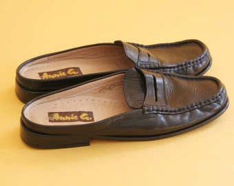 black leather loafer mules
