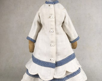 Antique flat top china head doll, porcelain doll on original body