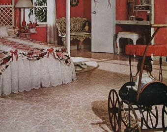 1961 Armstrong Vinyl Floors Ad - Girl's Bedroom Decor Ideas - Canopy Bed, Old Fashioned Baby Carriage - Feminine Bedroom Decor Ideas