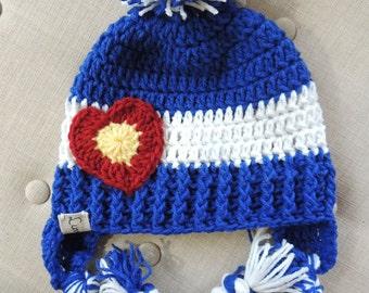 Colorado Flag hat, Crochet Colorado Hat, Colorado Hat with Heart, Heart Colorado Hat, Colorado Beanie, Valentines gift, Colorado Ski Hat