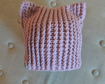 Crochet Kitty hats, Luv Beanies, Cat hats, Kitty Hats, Girl Hats, Photo Props, Crochet Cat Hats, Pink Pussy Cat Hat, Animal hats, Valentines