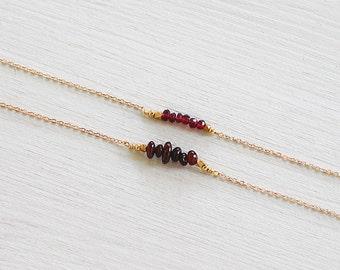 Garnet beaded bar necklace - Red garnet necklace - Tiny garnet gemstone necklace - Garnet bead bar necklace - January birthstone necklace