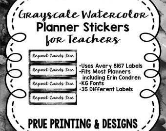 Black Watercolor Teacher Planner Labels