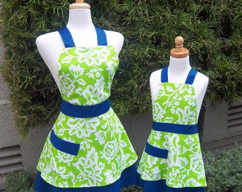 Mother Daughter Apron Set Handmade Retro Style Apron Blue and Green Floral Print
