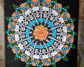 "Dia de los Muertas Mandala Painting : Acrylic on canvas 10"" x 10"" (25.5 x 25.5 cm) approx"