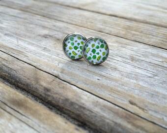 Green Cactus earrings, stud earrings, Desert stud earrings, cabochon earrings, 12mm earrings, Gifts for her