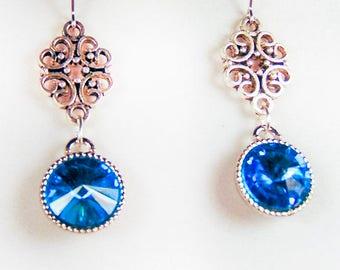 CRYSTAL EARRINGS, crystal jewelry, Swarovski crystal, crystal, aqua crystal, blue crystal, gold plate bezel, gold plate earwires - 1850