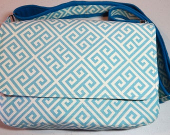 Aqua & Cream Chemo Pump Bag/Purse with Floral Lining