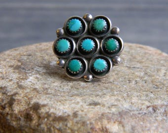 Vintage Sterling Silver & 7 Stone Turquoise Ring