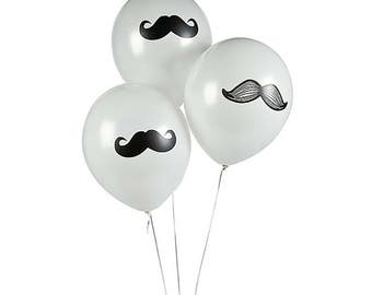 Mustache Balloons | 12 Black White Latex Moustache Birthday Party Hipster Decorations | Baby Boy 1st Birthday Bachelor Party Balloon Bouquet