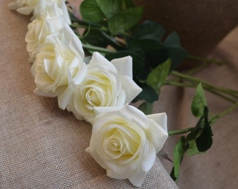 Ivory Cream Roses Real Touch Silk Latex Roses Wedding Flowers DIY Silk Bridal Bouquets Wedding Centerpieces