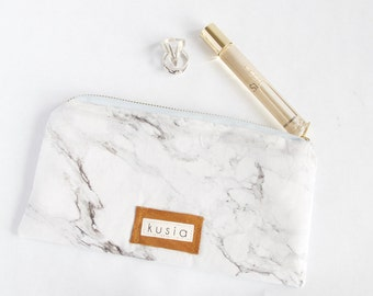 MARBLE Zipper Pouch Clutch. Travel Wallet. Small Travel Bag. Marble Bag. Purse Organizer. Gift for Wife. Friend Gift. Makeup Pouch. For Her.
