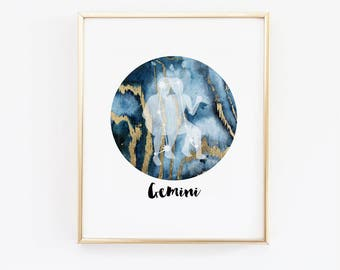 Gemini star sign, Astrology Art, Zodiac Art Print, June Birthday, Zodiac Art Print, Constellation, Astrology Print, Astronomy Print,
