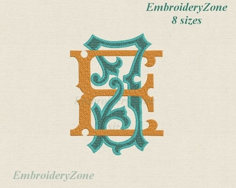 Double antique monograms from old books E & J Machine embroidery designs. 2 monogram E and J intertwined. Fonts EJ JE. 8 sizes 4x4 5x7 6x10